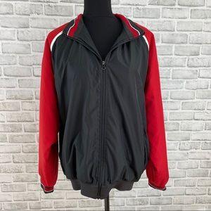 Rennoc Classic red black stripe zip up jacket coat